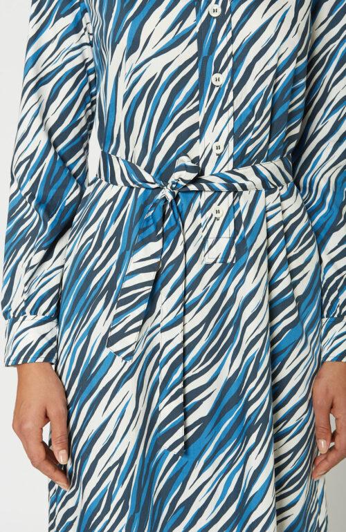 """A.P.C. Blaues Kleid """"Anne"""" mit Zebraprint - Schwittenberg"""