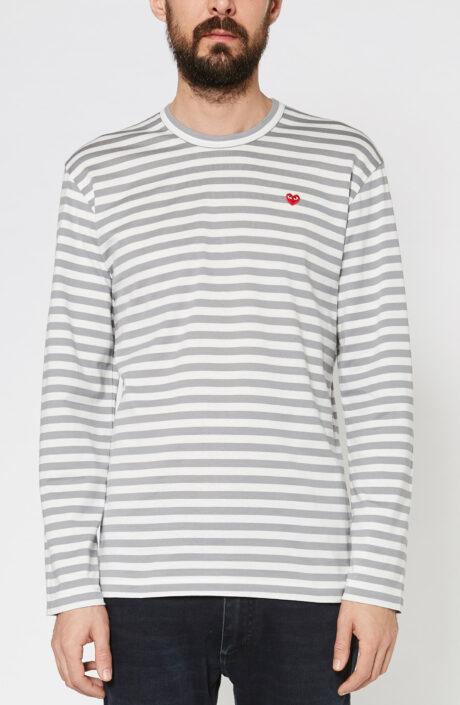 Comme des Garcons T-shirt langarm grau weiß gestreift T-shirt rotes herz