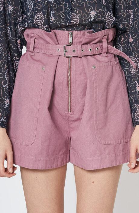 "Zartrosa-farbene Shorts ""Parana"" mit Gürtel"
