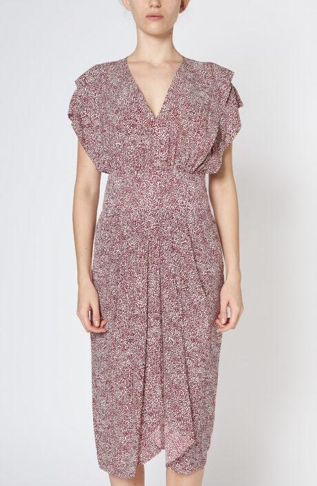 """Weißes Kleid """"Omeya"""" mit roten Punkten"""