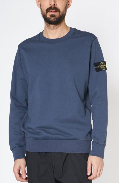 """Blauer Sweater """"63051"""" mit Logo-Patch und Rundhalsausschnitt"""