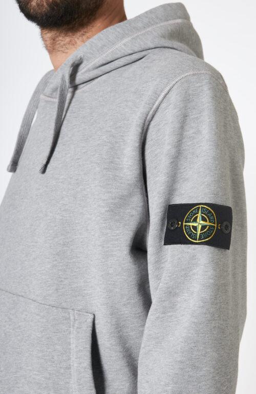 """Hellgrauer Kapuzensweater """"64151"""" mit Logo-Patch am linken Arm"""