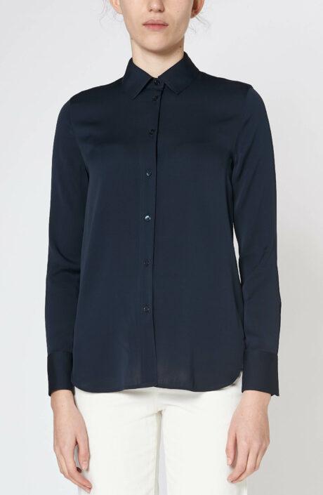 Dunkelblaue Bluse aus Seidensatin
