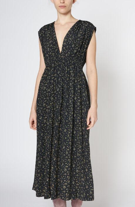 Ganni Schwarzes ärmelloses Kleid mit Print