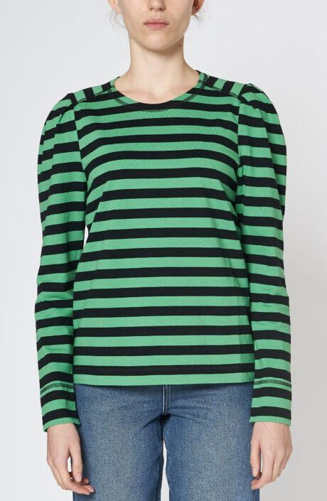Ganni Kelly Sweater grün schwarz gestreift