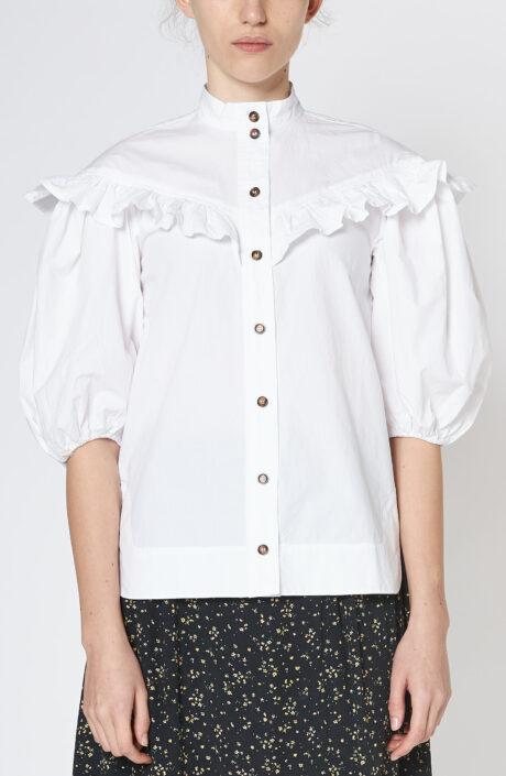 Weiße Bluse aus Baumwollpopeline