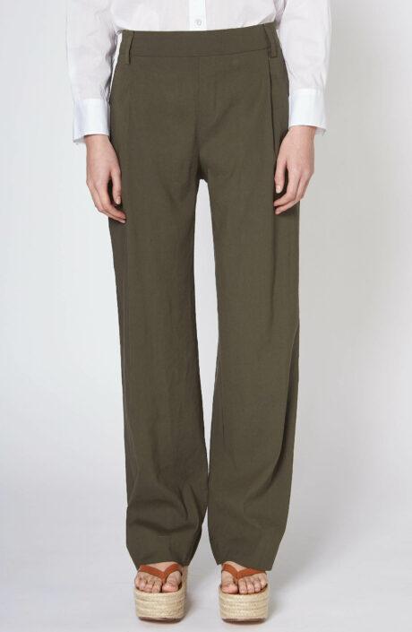 Khakigrüne Hose mit weitem Bein aus Leinen-Gemisch