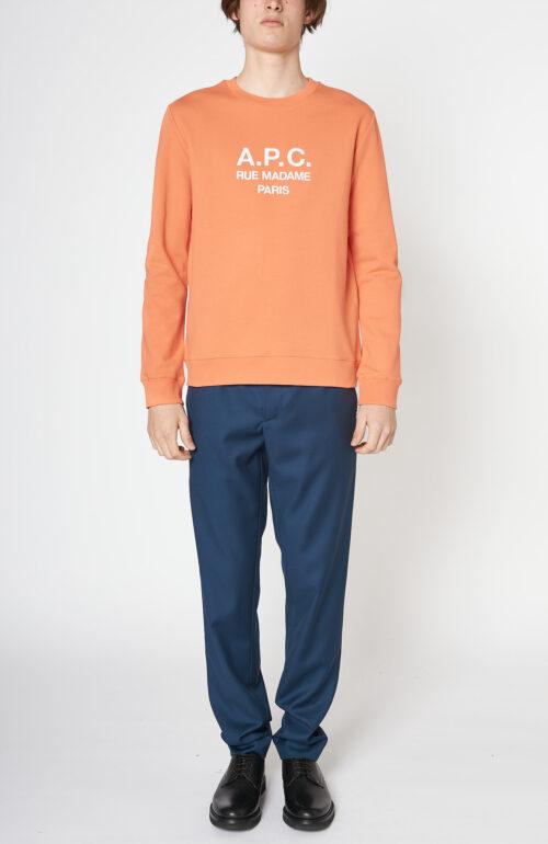 "Korallen-farbener Sweater ""Item"" mit Logo Print"