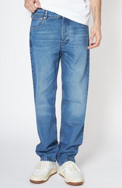 Blaue Straight Fit Jeans mit Waschung