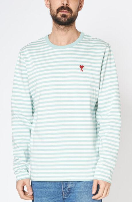 Mintgrüngestreiftes Langarmshirt mit rotem Herz