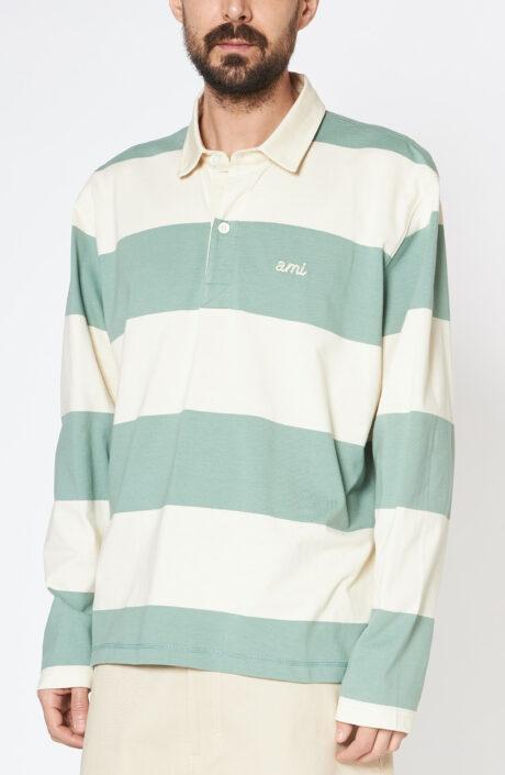Grüngestreiftes Polo-Langarmshirt