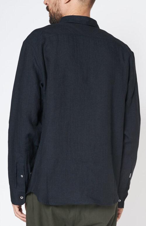 "Dunkelblaues Hemd ""Flores"" aus Leinen"
