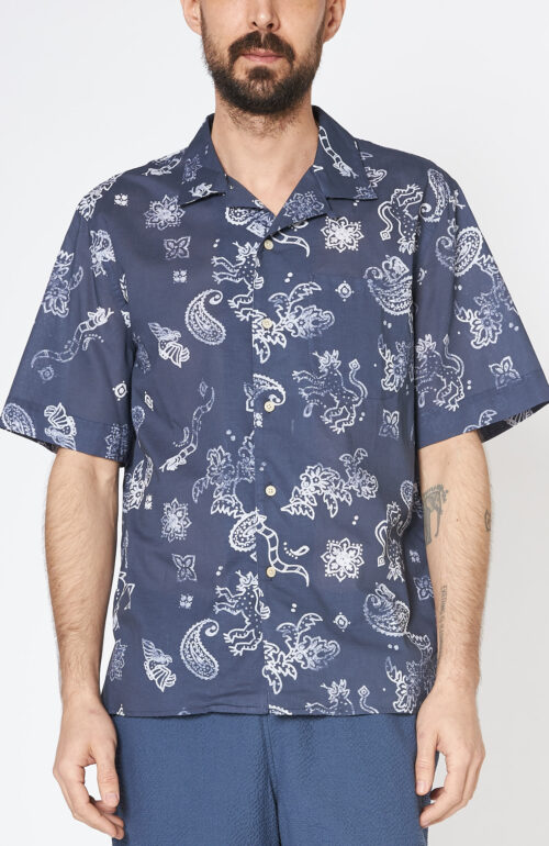 "Blaues Kurzarmhemd ""Gioia"" mit Paisley Muster"