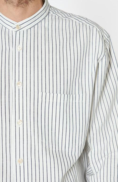 """Blaugestreiftes Hemd """"Brahma"""" mit Stehkragen und Brusttasche"""