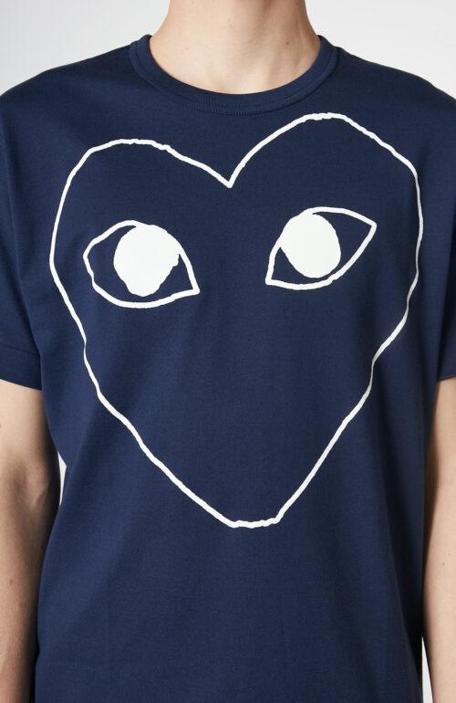 Dunkelblaues T-Shirt mit großem Herz-Print
