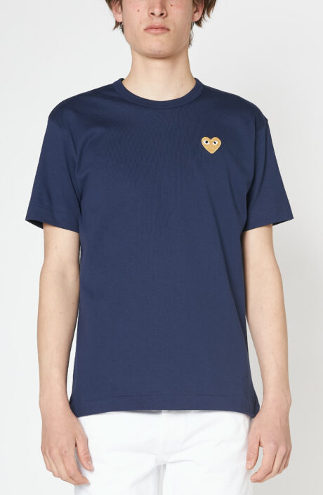 Dunkelblaues T-Shirt mit goldenem Herz