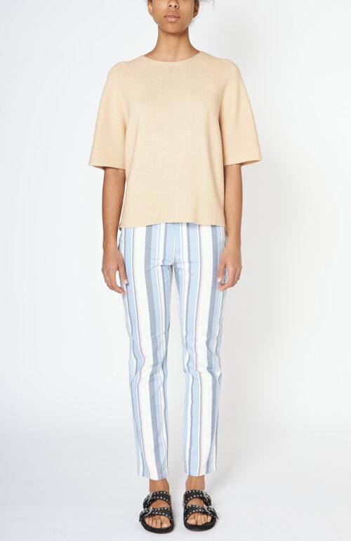 """Weiß-blau gestreifte Jeans """"Taille"""""""