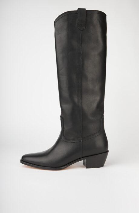 Schwarze Cowboy-Stiefel aus Leder