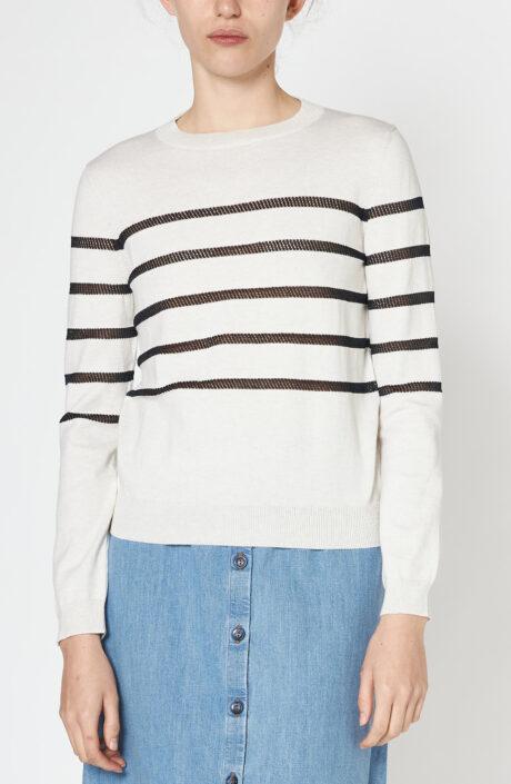 """Weißer Pullover """"Cordelia"""" mit schwarzen Streifen"""