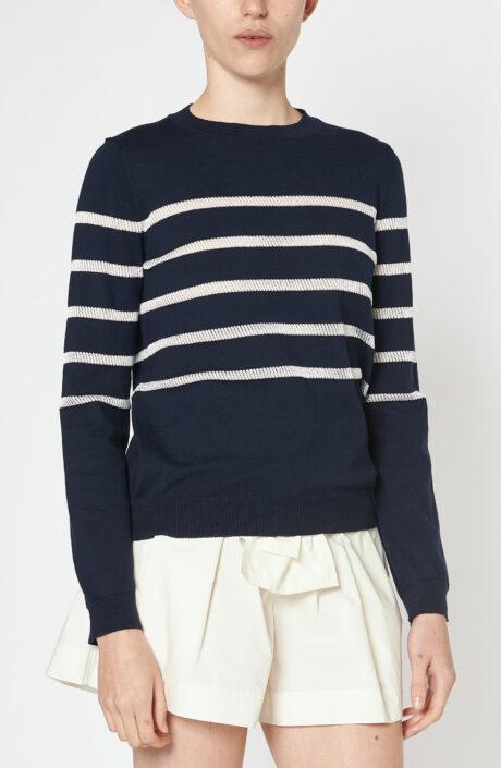 """Blauer Pullover """"Cordelia"""" mit weißen Streifen"""