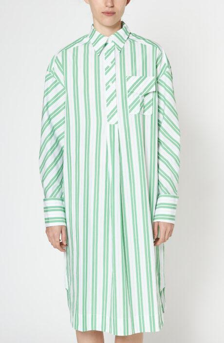 Grün-weiß gestreiftes Hemdkleid aus Baumwolle