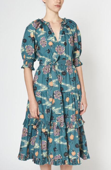 "Blau-grünes Kleid ""Dasha"" mit Print ""River"""