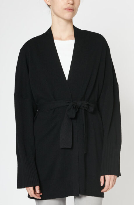 """Schwarze """"Mackenzie Kimono"""" Strickjacke aus Kaschmir"""