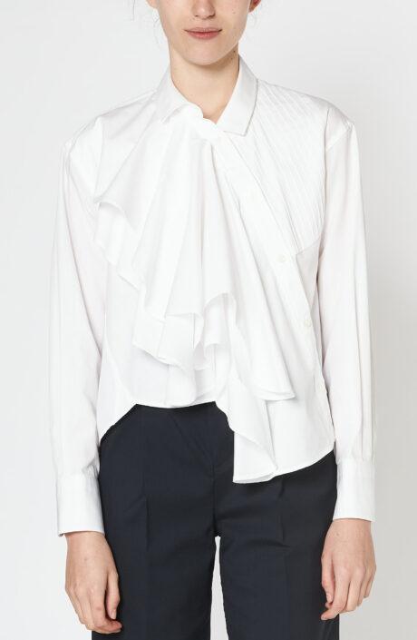 Weiße Bluse mit Plissee und Volants aus Baumwolle