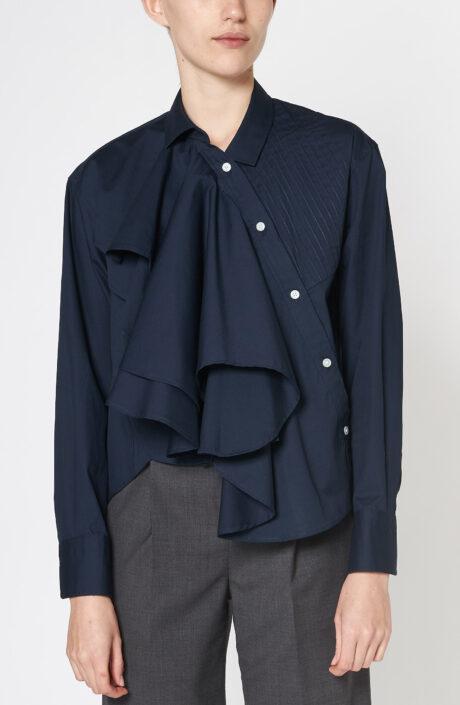 Dunkelblaue Bluse mit Plissee und Volants aus Baumwolle