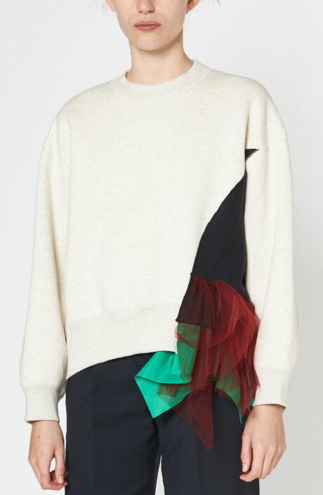 Weißes Sweatshirt it Ziereinsatz