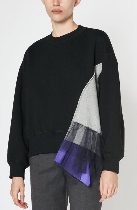 Schwarzes Sweatshirt mit Ziereinsatz