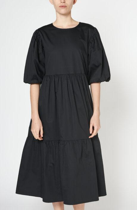 """Schwarzes Kleid """"Leoni"""" aus Baumwolle"""