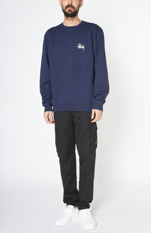 "Dunkelblaues Sweatshirt ""Basic"" mit Logo-Print"