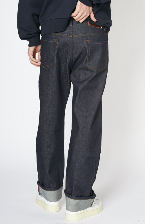 """Dunkelblaue Jeans """"Panthero"""" in Indigo mit roter Naht"""