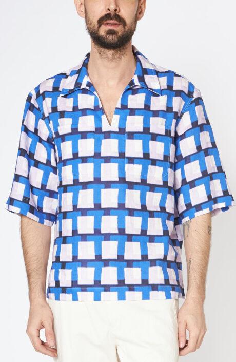 """Blaukariertes Polohemd """"Calix"""" mit V-Ausschnitt und Hemdkragen"""