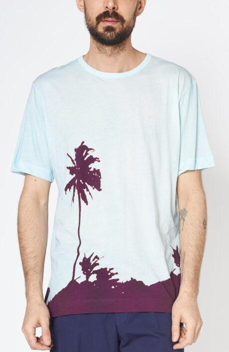 """Hellblaues T-Shirt """"Habba"""" mit Palmendruck"""