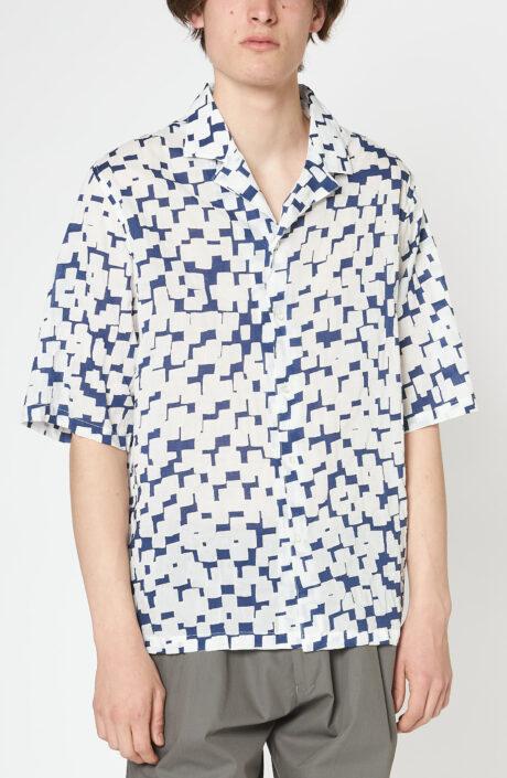 """Weißes Kurzarm-Hemd """"Eren"""" mit Print"""