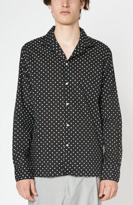 """Schwarzes Hemd """"Dario"""" mit weißen Punkten"""