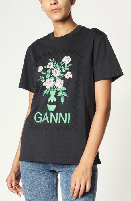 "Schwarzes T-Shirt mit Blumen Printmotiv ""Phantom"""