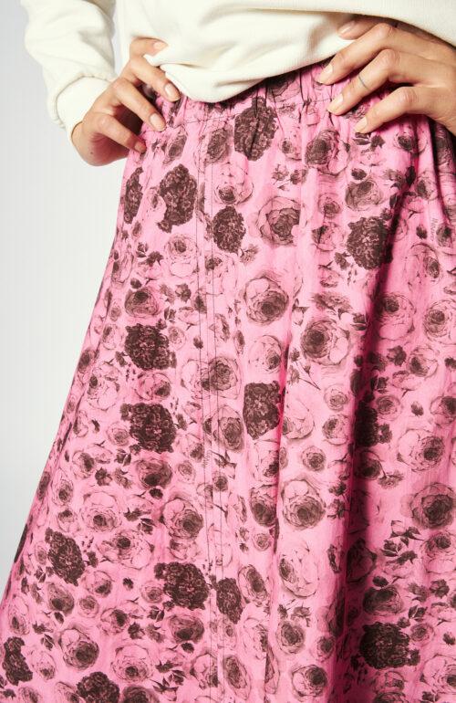 Midi-Rock aus Popeline in pink