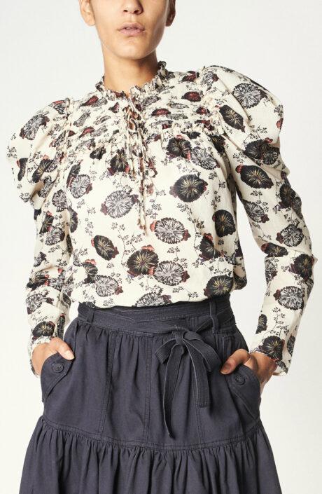 """Weiße Bluse """"Bevin"""" mit Chrysanthemen Print"""