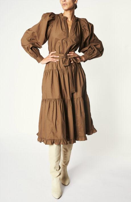 """Braunes Kleid """"Dolores"""" aus Baumwoll-Popeline"""