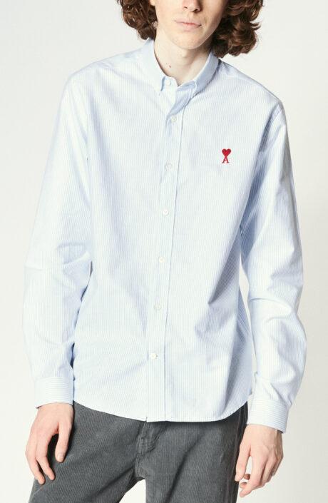 Blau-weiß gestreiftes Oxfoed-Hemd mit Button-Down Kragen