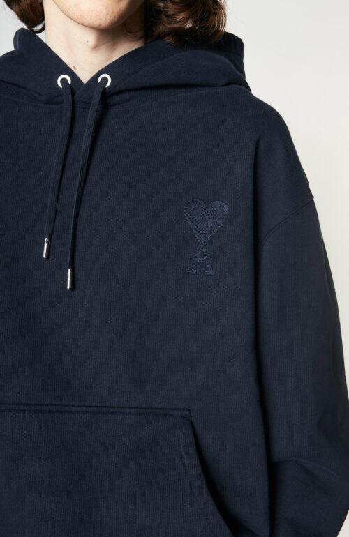 "Dunkelblauer Sweater ""Ami de Coeur"" mit Kapuze"