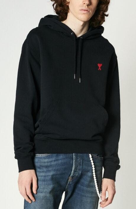 "Schwarzes Kapuzen-Sweatshirt mit rotem ""Ami de Coeur""-Logo"