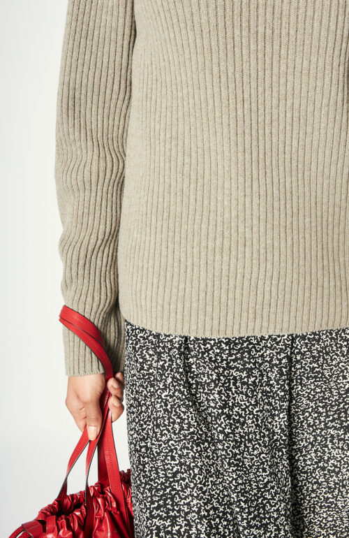 "Taupefarbener Turtleneck-Pullover ""Kanoni"" aus Schurwolle"