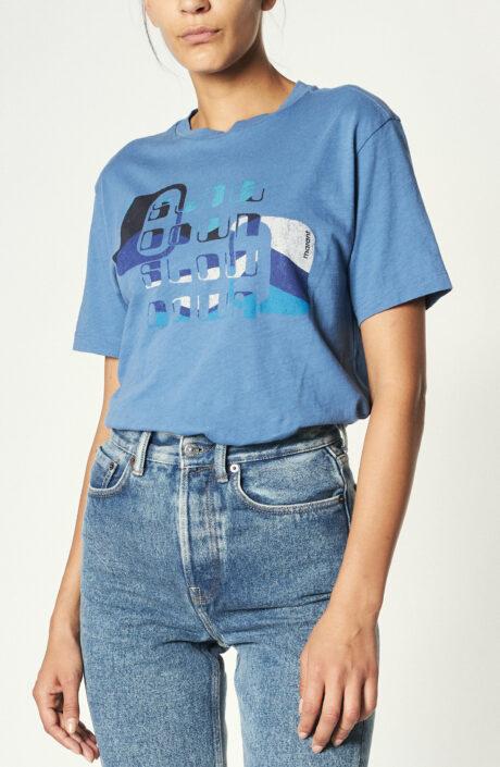 "Blaues T-Shirt ""Zewel"" mit Print"