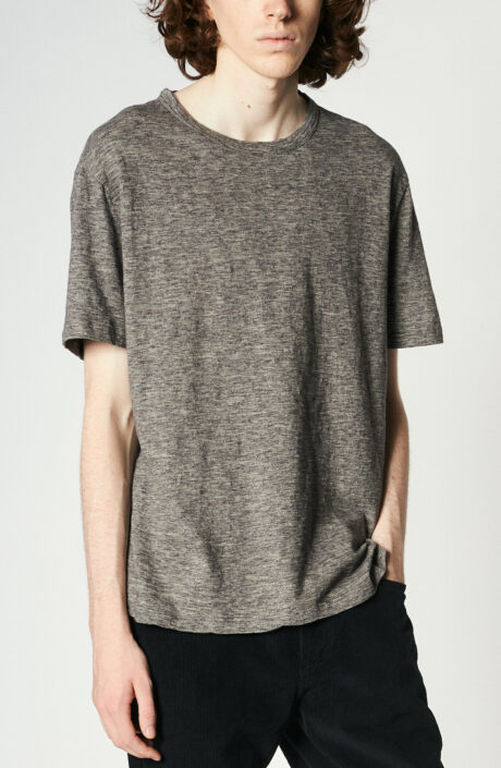 Grau-meliertes T-Shirt aus Baumwolle