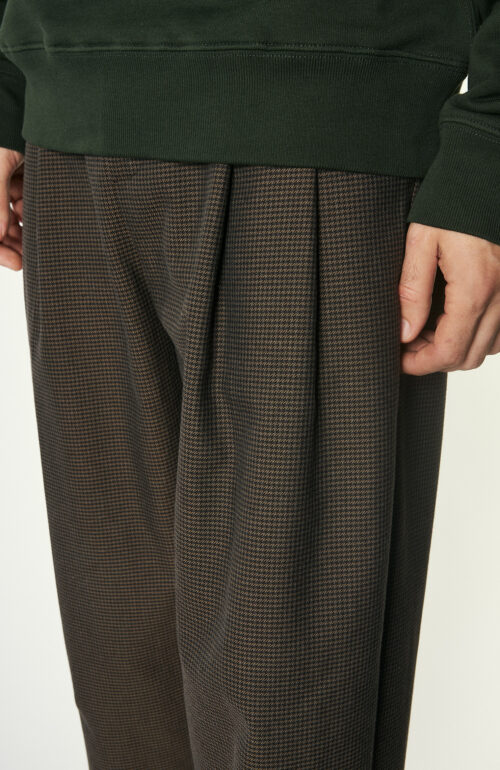 "Braun-karierte Hose ""Pleated Wide Trouser"""