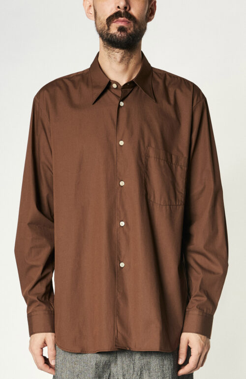 Schokoladenbraunes Hemd aus Baumwoll-Popeline